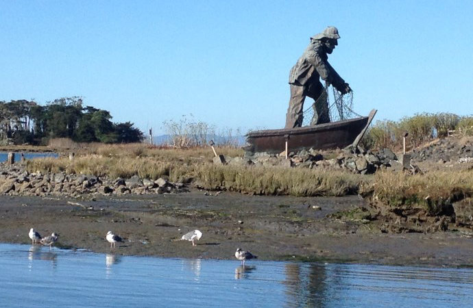 Laird, Water, Woodley Island Marina Fisherman Sculpture